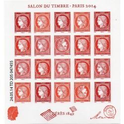 Bloc feuillet du salon 2014 Vermillon