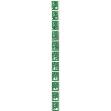 Roulette de 11 timbres  N° 65 avec  N° Rouge