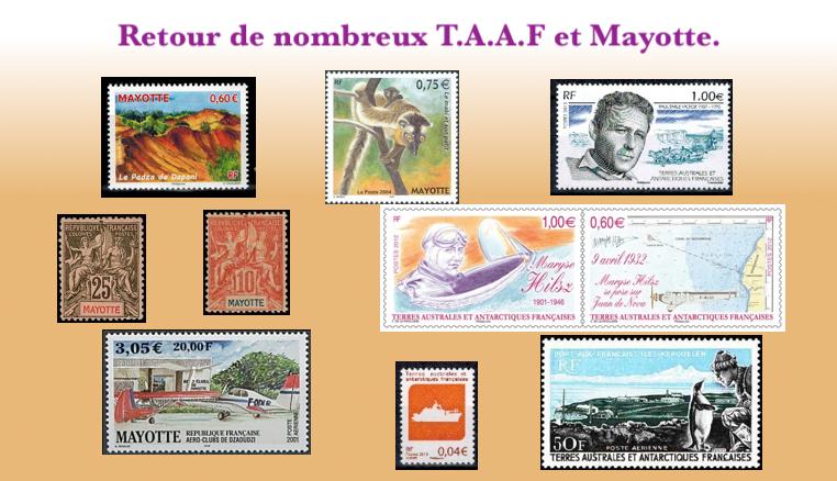 Retour des timbres de TAAF et Mayotte.