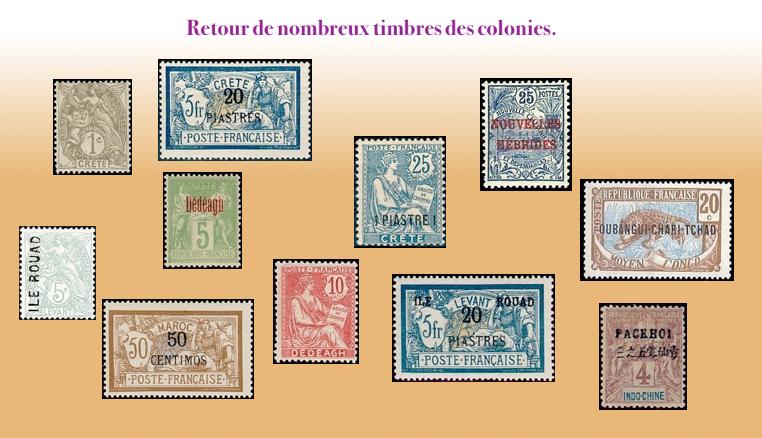 Les timbres des colonies.