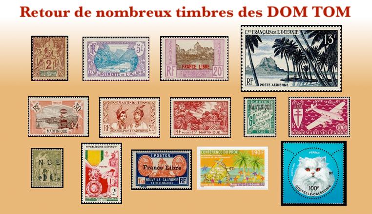 Plus de choix de timbres des DOM TOM