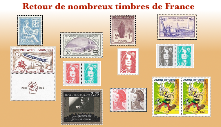 Large choix de timbres de France