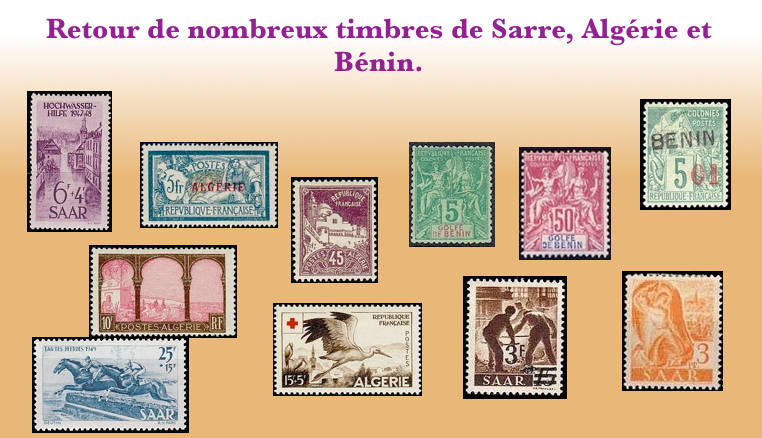 Plus de choix de timbres des colonies